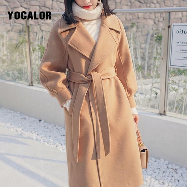 Artı Boyutu Gevşek Sıcak Yün Karışımları Uzun Kış Coat Turn-down Yaka Ayarlanabilir Kemer Yün Palto Kadınlar Ofis iş Elbisesi Zarif