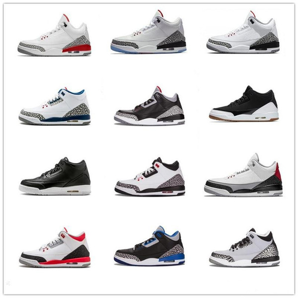 wholesale dealer 18a7c a0dcc Newest 3 Quai 54 International Flight Pure White 3s Men Basketball Shoes  Black Cement Fire Red JTH Tinker Blue Grey Sports Sneaker Basketball Shoes  ...