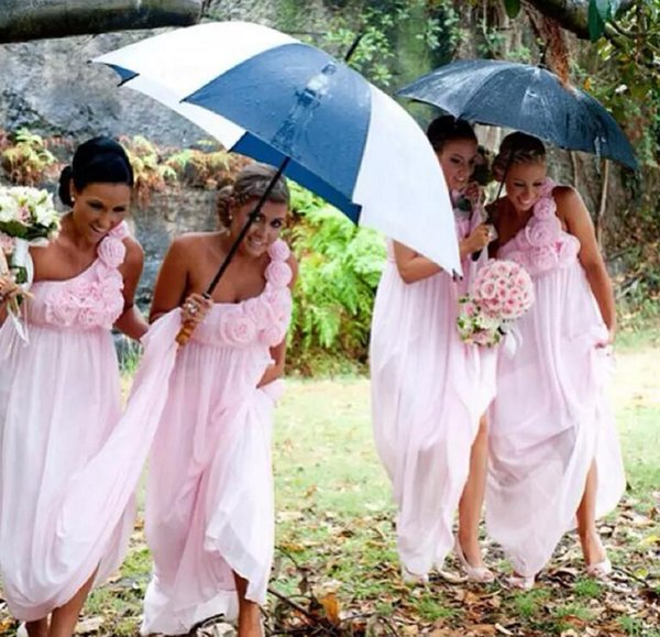 Cute Country Pink Bridesmaid Dresses Cheap Long One shoulder With Handmade Flowers Beach Empire waist Pleated Wedding Guest Prom Dress