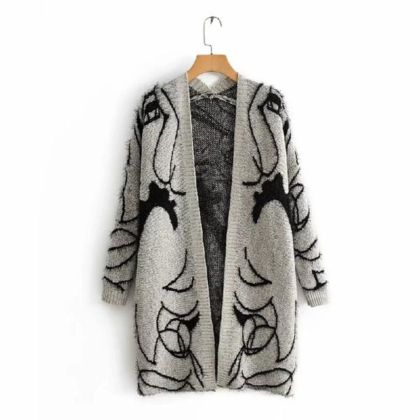 Moda primavera Ocasional Tricô Cinza Trench Coat para As Mulheres Dos Desenhos Animados Jovem Menina Padrão de Ponto Aberto Blusão Roupas de Mulher