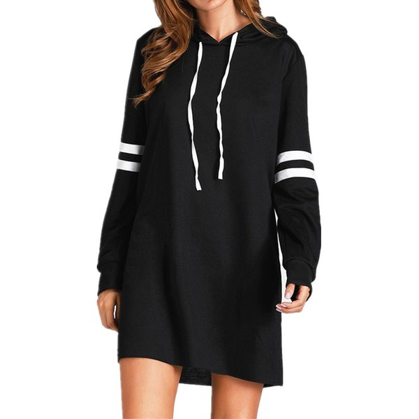 Autumn New Fashion Hoodies Dress Women Girls Striped Preppy Style Sweatshirt With Hood Casual Solid Patchwork Loose Hoodies