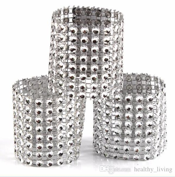 Diamond Napkin Rings for Wedding Napkin Holders Rhinestone Chair Sashes Banquet Dinner Christmas Table Decoration Gold and Silver DHL FREE