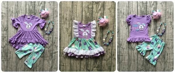 Pâques Bébé Filles Lavender Bunny Outfits Bleu Floral Enfants Vêtements Capris Robe Courte Ruffle Boutique Match Accessoires Enfants Y190518