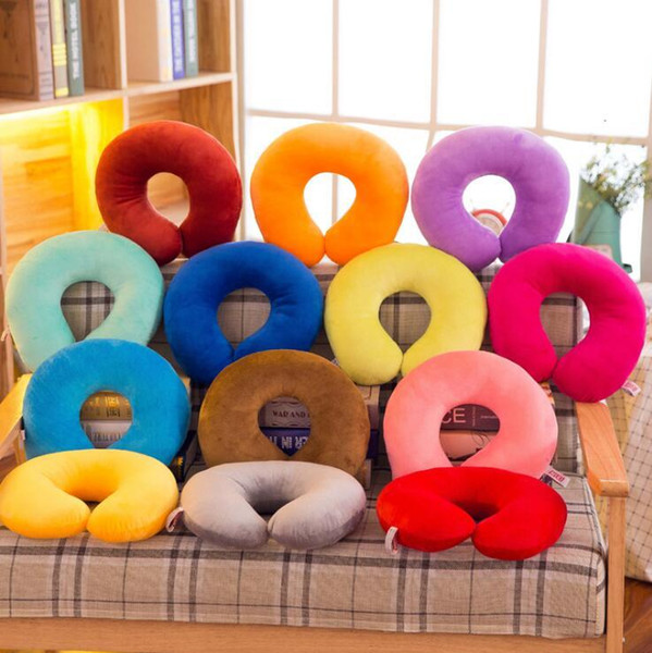 Solid U Shaped Pillow Soft Plush Vehicular Neck Throw Pillow Toys Nap For Travel Rest Student Adult Kids Christmas Gifts MMA1368 50pcs