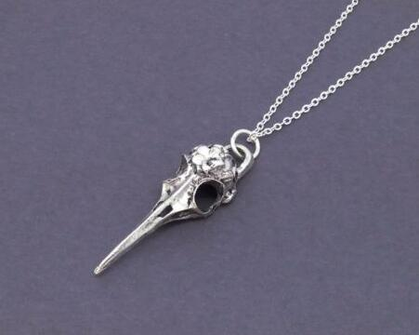 Vintage Silver Bird Gothic Crow Raven Skull Necklace Choker Chain Collar Statement Necklace Pendant Jewelry Women Halloween Gift NEW