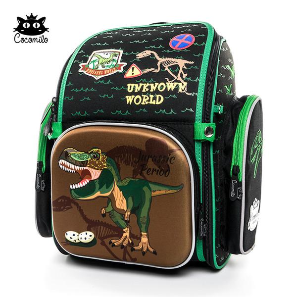 Cocolimo Dinosaur Design Primary School Bag For Boys Children Orthopedic School Bag Backpack Girls Fairy Mochila Escolar Green Y19051701