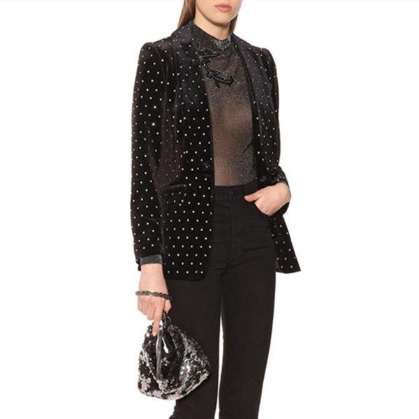 Blazer feminino 2019 Spring Elegant Crystal Beaded Black Women Blazer Office Lady loose casual Velvet Coats female jacket