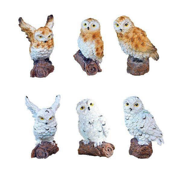 6-style Mini Artificial Animal Owl Miniature Fairy Garden Home House Decoration Diy Craft Micro Landscaping Decor Accessories C19041601
