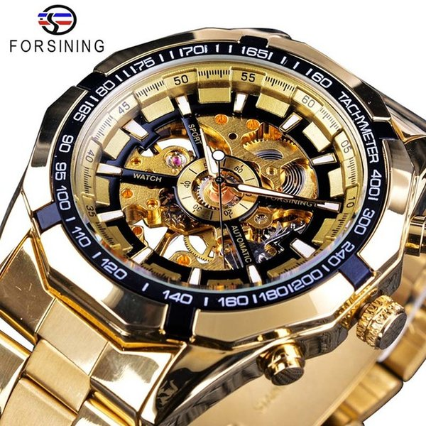 Forsining New Mens Gold Watches Luxury Automatic Mechanical Skeleton Designer Man Sport Watch Fashion Brand Casual Classic Watches For Men