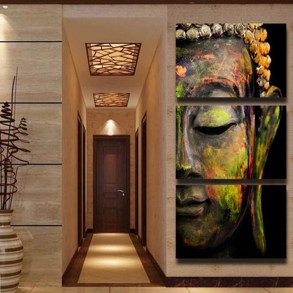 3 panneaux HD Imprimé peinture à l'huile colorée Bouddha toile imprimer moderne décor à la maison Wall art Image pour salon cadeaux pas encadré