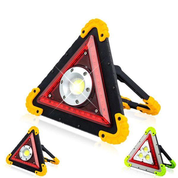 Luz de advertencia de señal de triángulo multifunción COB LED Luz de trabajo Lámpara de inundación SOS Camping Reflector LED Iluminación de tráfico