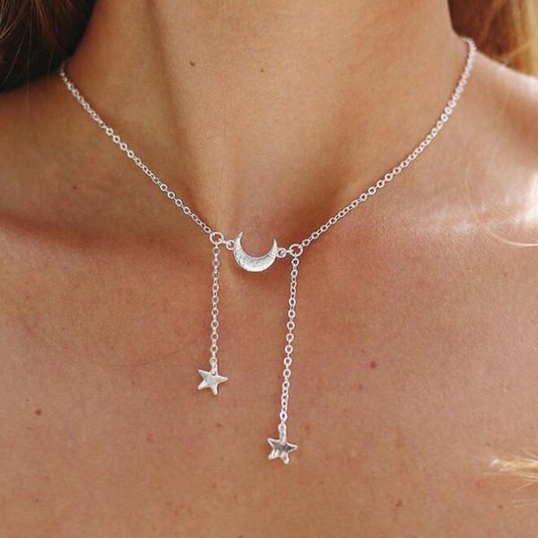 Basit Narin Yıldız Ay Püskül Kolye Gerdanlık Kolye Kadınlar için Zarif Altın Gümüş Zincirler Klavikula Kolye Takı Kızlar Hediye YN30