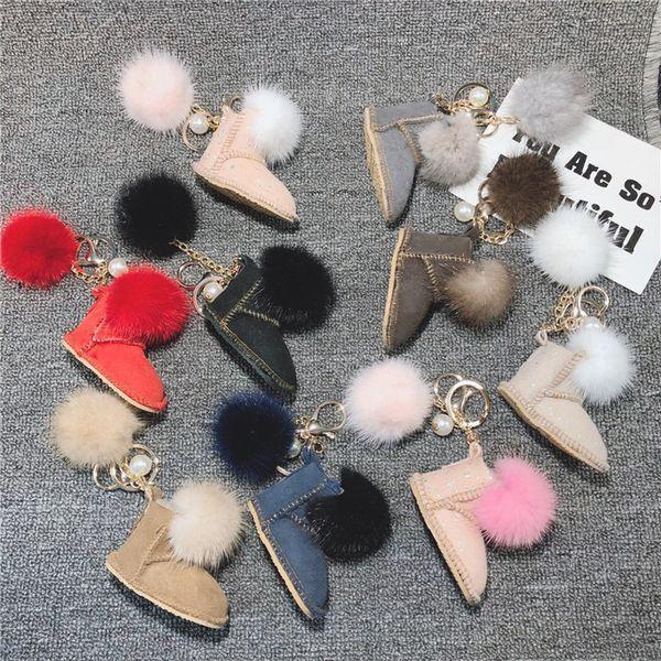 Snow boots keychain mini plush small shoes car keychain ladies bag pendant fashion accessoriesYou deserve it
