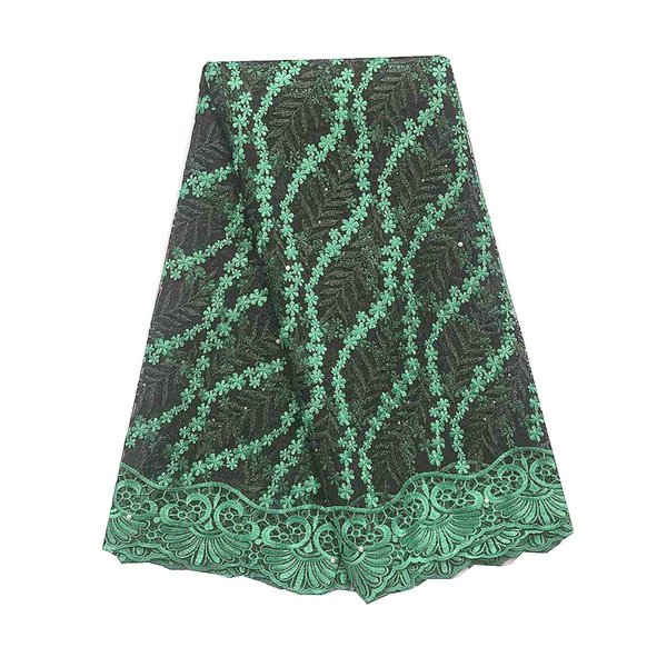 African French Lace 2019 Green Lilac Cord Lace Fabric 5Yards High Quality Wedding African Fabric Lace For Dress Material