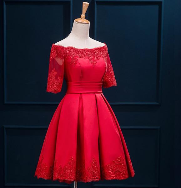 Robes de demoiselle d'honneur courtes épaule manches moitié dentelle Satin Cocktail Robes de soirée de mariage élégante longueur de genou robes Bourgogne Turquoise
