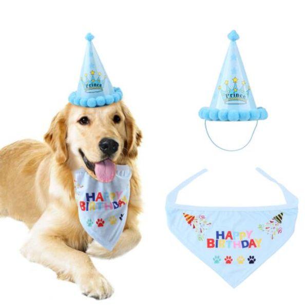 Hund Geburtstag Bandana Schals Lätzchen mit niedlichen Hündchen Geburtstag Partyhut Kostüm Cosplay Party Heimtierbedarf Bekleidung Zubehör n2