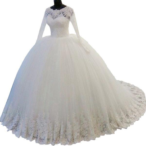 긴 소매 웨딩 드레스 2019 크리스탈 골치 아픈 건 레이스 아프리카의 아랍 아이보리 웨딩 드레스 웨딩 가운 robe de mariee
