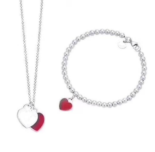 2019 donne di alta qualità perle sottili in acciaio inox piatto d'argento cuore d'argento rosso collane ciondolo e il vestito braccialetto con scatola e dastbag