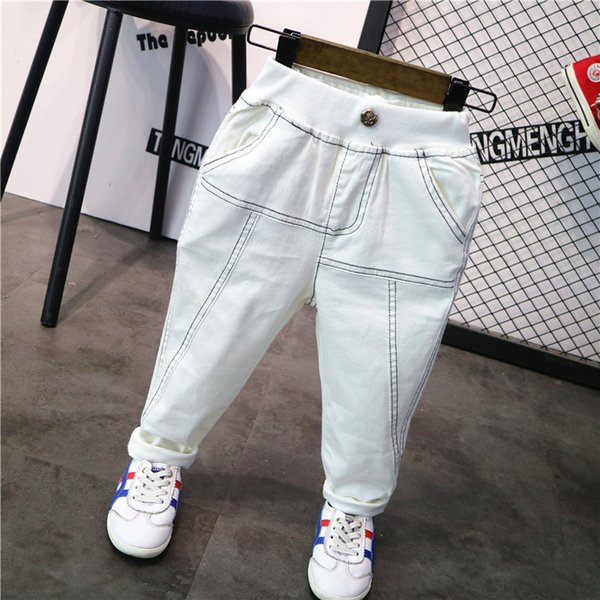 2019 Primavera Otoño Niños Jeans Moda Casual Jeans blancos para niños Pantalones de alta calidad Pantalones Niño Bebé Pantalones de cintura elástica