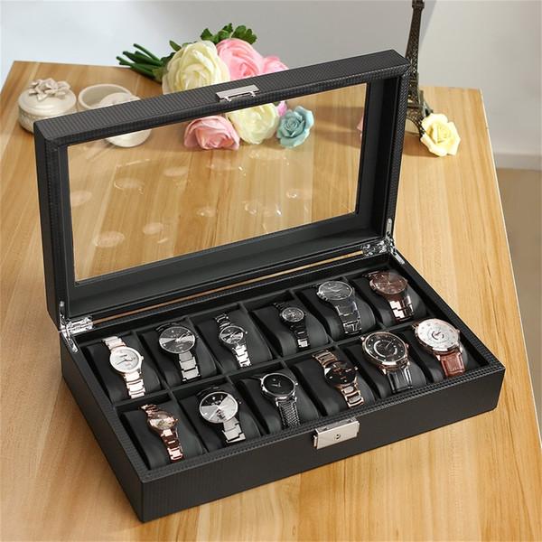 Astuccio in similpelle per orologi in fibra di carbonio con 12 fessure per orologi in fibra di vetro, portamonete per espositore portafogli nero, orologi grandi, scatola, katusu in scatola
