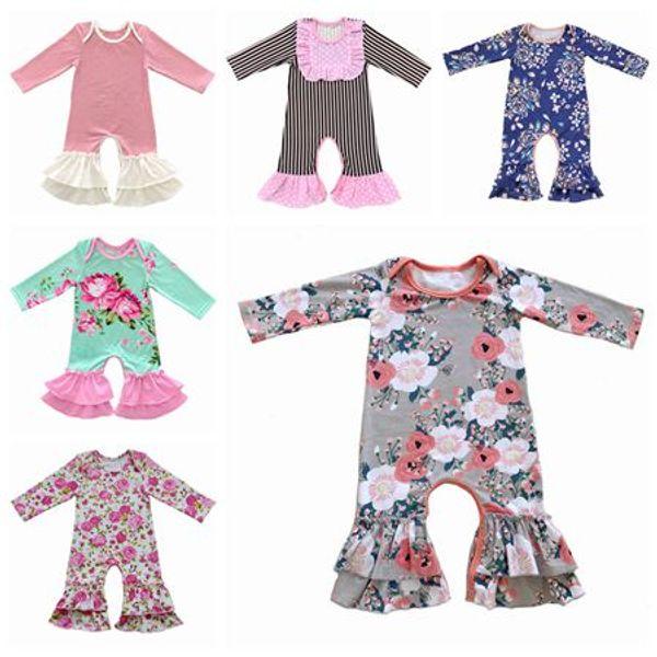 Baby-Weihnachtspyjamas des Falles 2019 einteiliger Babyspielanzugblumenoverallbabyspielanzug-Langarmmädchen-Butikenkleidung onesies Kleidung