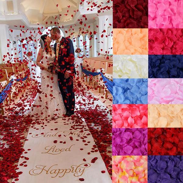 100pcs / set pétalos de rosa de seda 20 colores del partido de jardín hogar de la boda de las flores artificiales Pétalos de Rose de la decoración del hotel HHA1145
