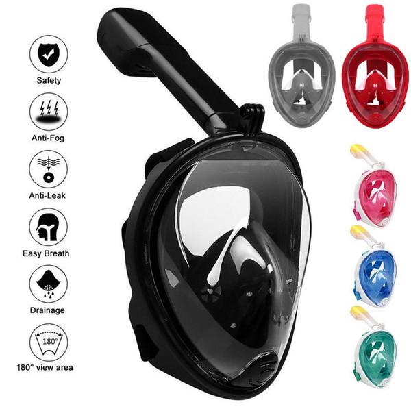 7 colores Máscara de buceo subacuática Conjunto de snorkel Entrenamiento en natación Diversión acuática Cara completa Máscara de esnórquel antiniebla con soporte para cámara CCA11727 6pcs