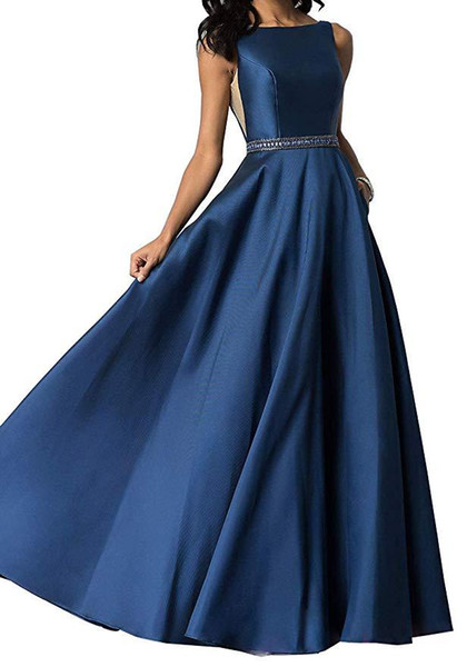 Hot Jewel Neck Prom Party Dresses With Sleeveless Beaded Top A Line Sexy Back Sweep Train Evening Dresses Formal Gowns 2019