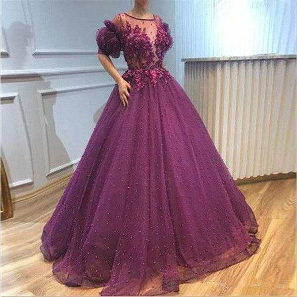 Saudi Arabic Purple Evening Dresses Pearls Fitted Poet Short Sleeve Sheer Neck Petal Appliques Long Prom Gowns Pageant Dress