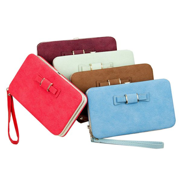 Women PU Leather Bowknot Wallet Long Card Holder Purse Phone Box Handbag Bag Best Sale-WT