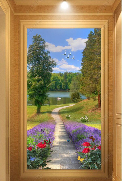 3d wallpaper custom photo Beautiful flower path porch background wall muals wall paper for walls 3 d