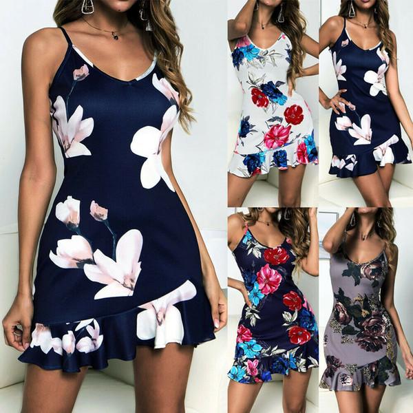Bonito nuevo vestido corto de verano bohemio para mujer, vestido de fiesta de noche, vestido de playa, vestido corto sin mangas floral para dama