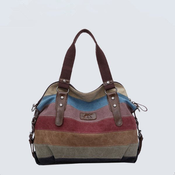 New fashion canvas Korean version of the shoulder bag patchwork canvas bag high tote bag casual trend big handbag