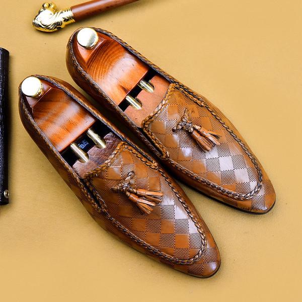 Scarpe eleganti da uomo eleganti da uomo in pelle elegante con scollo a punta sui comodi mocassini moderni da uomo casual AS172