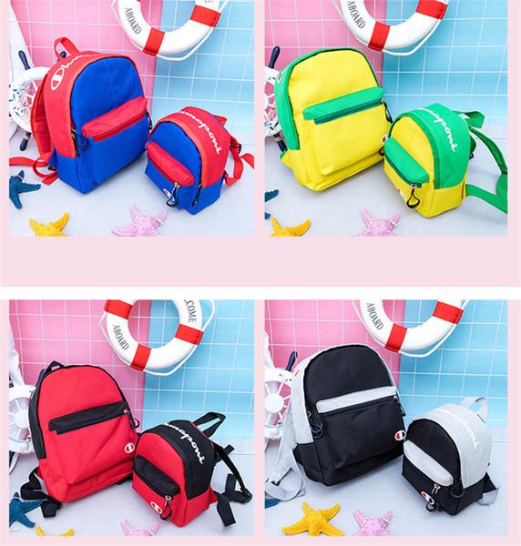 Champion Brand Kids School Bag Brand Designer Backpacks Parent-child Shoulder Bags Canvas Sports Travel Duffle Totes Back Pack C72507