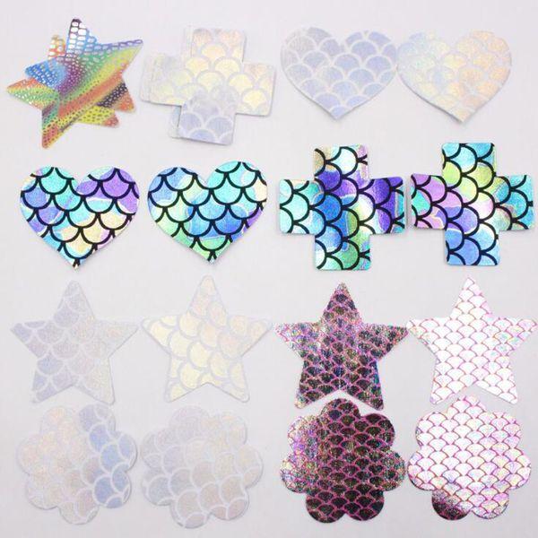 Geométrica Mulheres Invisíveis Multi-Shaped Descartável Mamilo Tampa Do Laser Autoadesivo Pétalas de Mama Pastéis Etiqueta Pad