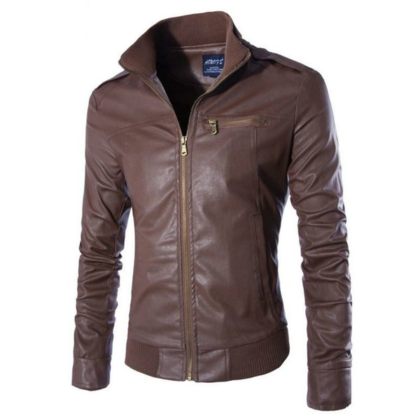 2019 New Thin Mens Pu Leather Jacket Youth Casual Leather Jacket, Fashion Jaquetas Masculino Moto Leather Coat Paint