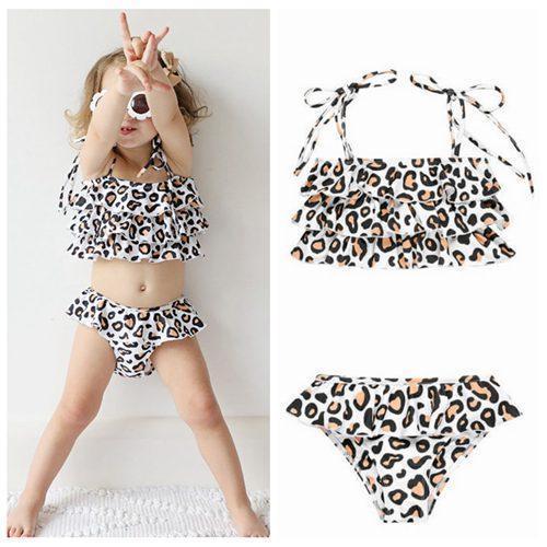 2019 verano niña bebé una pieza trajes de baño leopardo niños trajes de baño bikini niñas dos piezas ropa de playa volante natación trajes de baño lindo