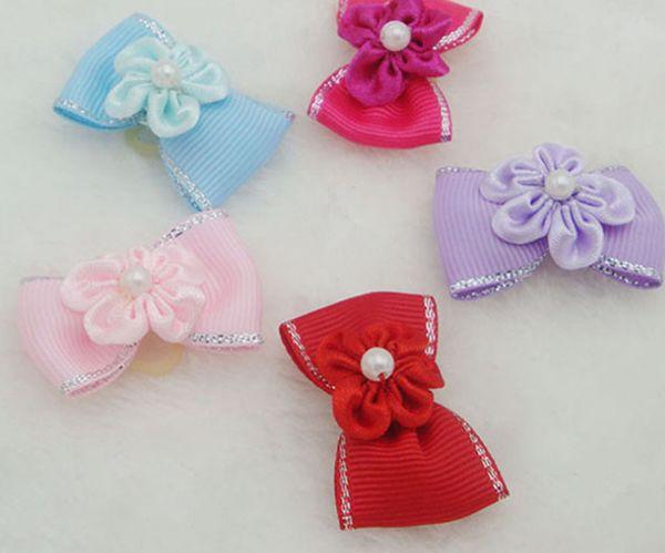 Оптовая ПЭТ ювелирные изделия ткани волосы Луки, собака галстук-бабочка украшения, Собака волосы Луки показать голову галстук-бабочка украшения резинкой кольцо цветок