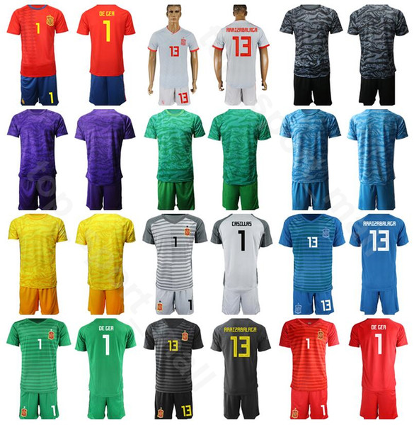 Spain Goalkeeper GK Goalie Soccer 1 David De Gea Jersey Set 1 Iker Casillas 13 Kepa Arrizabalaga 23 Pepe Reina Football Shirt Kits