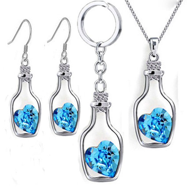 Austrian Crystal Wishing Drifting Bottle Necklace earring keychain Pendant Sparkle gem Love Heart Fasion Jewelry