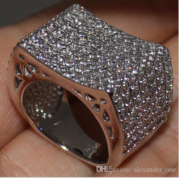 Eternity 14K White Gold Filled Round Simulated Diamond CZ Pave Set Engagement Wedding Band Ring for Women