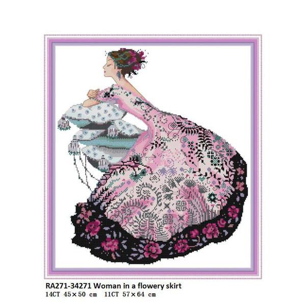Mulher Vestindo Vestido Floral, contados Impresso Na Lona DMC 14CT 11CT Cross Stitch kits, Bordado Needlework Set, Feitas à mão Artesanato Decoração Da Sua Casa