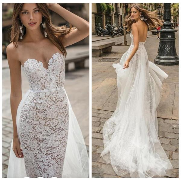 Vestidos De Casamento Sereia cheia Do Laço Sheer V Pescoço Nu Tule Backless Pérola Cinto Vestido de Casamento Da Praia Destacável Trem País Vestidos de Noiva