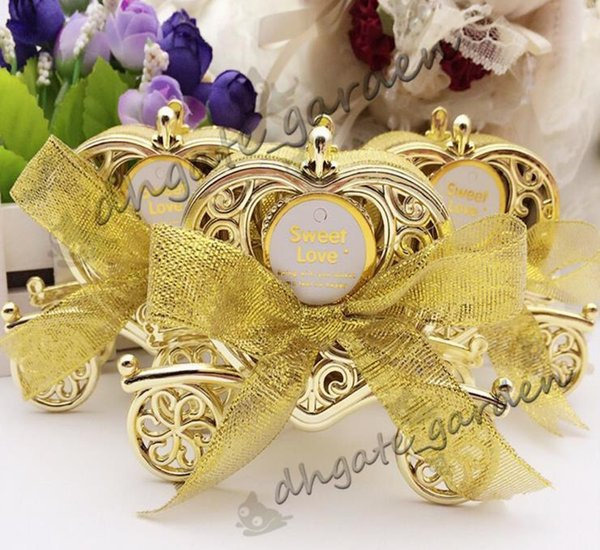 Love Carriage Wedding Box Party Favors Gift Candy Chocolate Box Caja de oro y plata para boda Baby Birthday Party-01