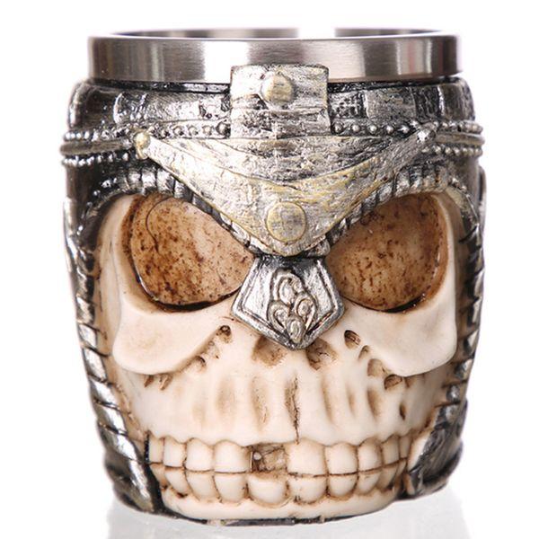 Gothic Skeleton Warrior Mug Horror Helmet Skull Stainless Steel Liner Tankard Coffee Beer Drinkware Decoration Halloween Gift