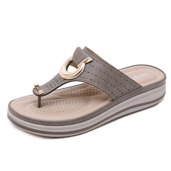 Big size Women slippers Elegant women flip flops Euro USA breathable metal decorate slipper for lady zy217