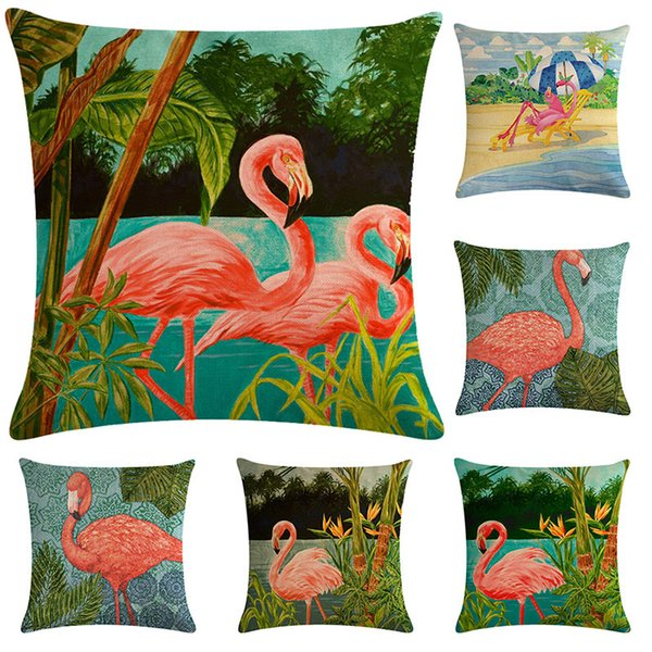 Flamingo Pillow Covers Linen Cushion Cover Glamour Square Pillowcase Cushion Cover Home Office Sofa Car Decoration Supplies WX9-1258