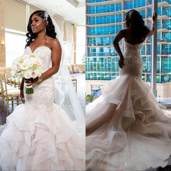2020 Gorgeous Plus Size Mermaid Wedding Dresses Sweetheart Lace Applique Cascading Ruffles Sweep Train Africa Wedding Gowns vestido de novia