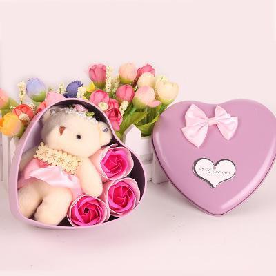 Мыло Цветочный медведь кукла Сердце Box для Романтический День Святого Валентина свадебного подарка Домашнее украшение искусства и ремесла 3шт цветок + 1шт медведь = 1 коробка